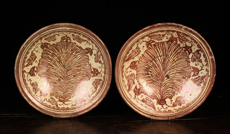 A Pair of Late 17th/Early 18th Century Hispano-Moresque Lustre Dishes (A/F),