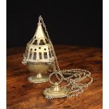 """A Late 15th Century Flemish Gothic Thurible complete with original chains hanging 23½"""" (60 cm) in"""
