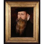 A 16th Century Oil on Panel in the manner of Hans Eworth: Head & Shoulders Portrait of an Anonymous