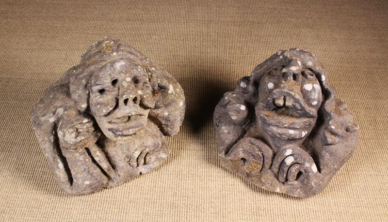 Two Medieval Carved Stone Architectural Ornaments in the form of grotesque heads, - Image 2 of 3