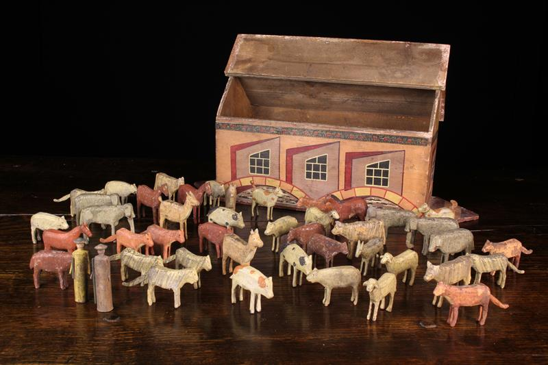 A German Painted Wooden Toy Noah's Ark & Animals, Circa 1930, attributed to the Erzgebirge region. - Image 2 of 4