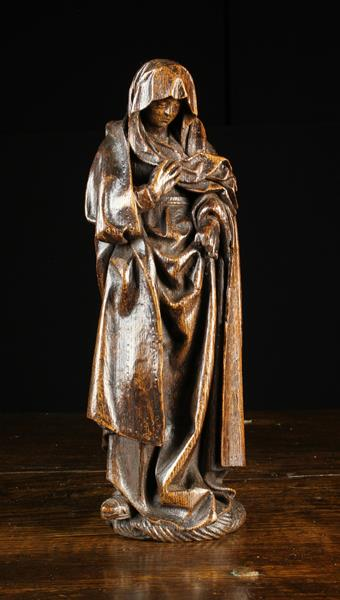 A Small 15th/Early 16th Century Oak Carving of Mary Magdalene; - Image 2 of 2
