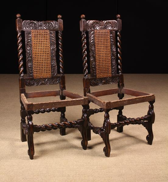 A Rare Pair of Fine Charles II Carved Walnut Chairs, - Image 2 of 4