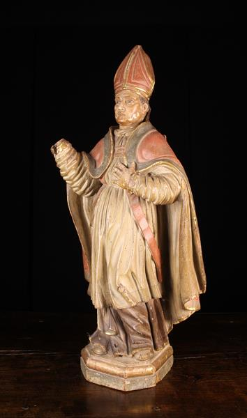 """A 17th Century Polychromed Wood Carving of a Bishop, 36"""" (92 cm) in height."""
