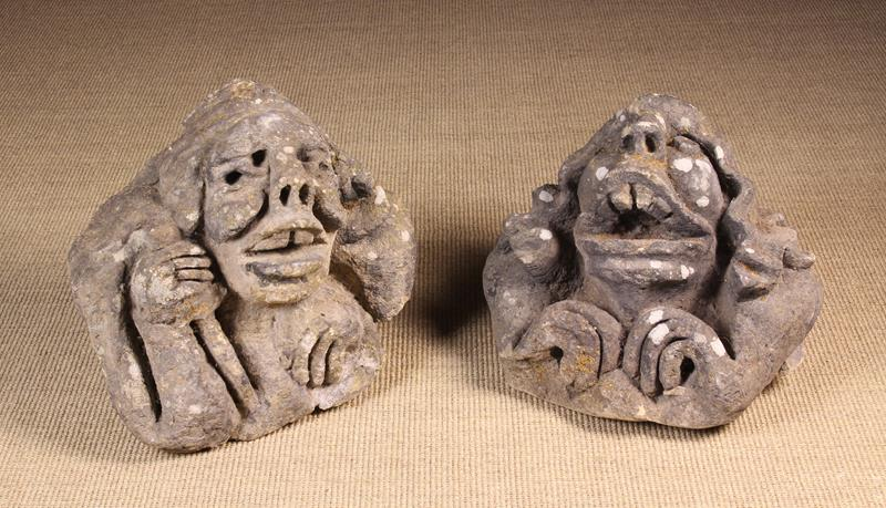 Two Medieval Carved Stone Architectural Ornaments in the form of grotesque heads, - Image 3 of 3