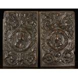 A Fine Pair of 17th Century Oak Romayne Panels.