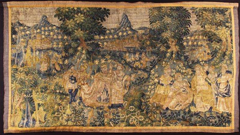 An Early 17th Century Tapestry Fragment Depicting a Royal Gathering in Landscape,