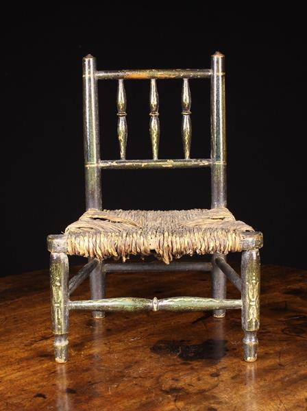 A 19th Century Miniature Dales Chair having a spindle back and rush seat with painted decoration - Image 2 of 2