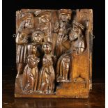 A Fine 16th Century Walnut Retable Carving depicting Presentation of the Blessed Virgin Mary In The