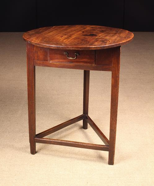 A Fine Late 18th Century Fruitwood & Walnut Cricket Table with drawer, Circa 1780.