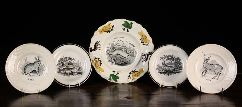 A Group of 19th Century Nursery Animal Plates: The largest bat printed with 'The Hare' to the