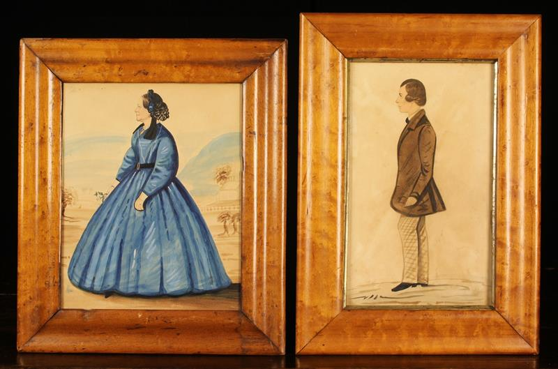 Two Watercolour Sketches in moulded birds-eye maple frames;