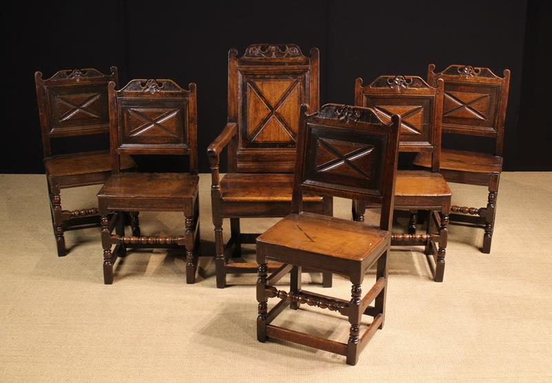 A Fine Set of Charles II Joined Oak Dining Chairs, of rich colour and patination. - Image 3 of 3