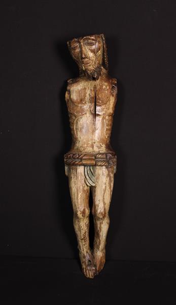 A Rare & Poignant 15th Century Gothic Carved & Polychrome Wooden Corpus Christi,