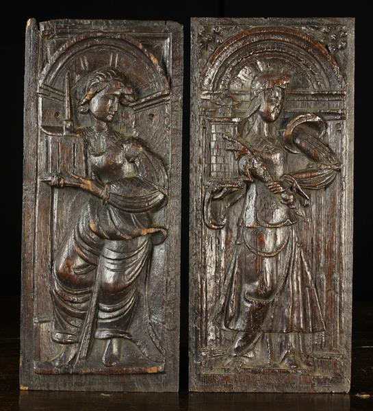 A Pair of 16th Century Carved Oak Panels;