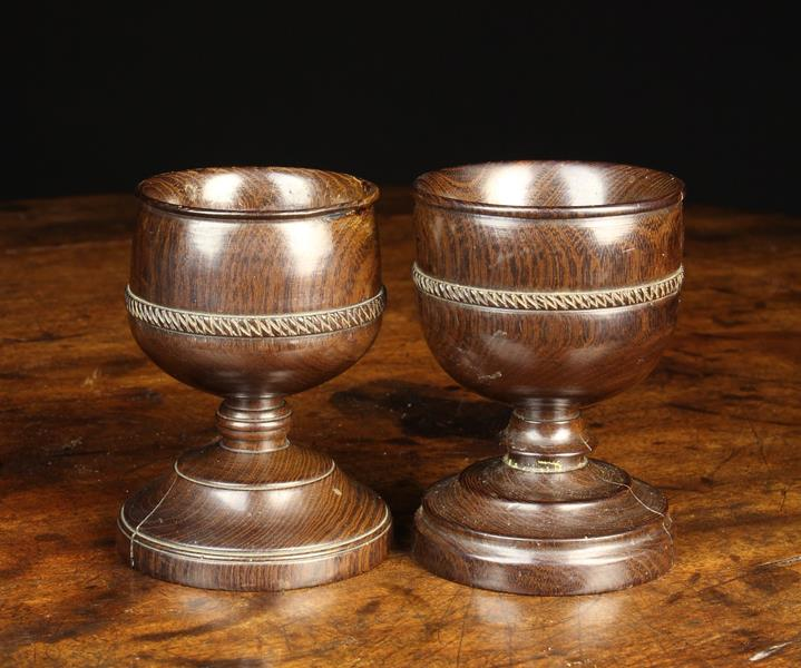 Two Early 19th Century Turned Lignum Salts.