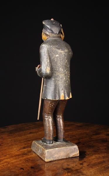 A 19th Century Polychromed Wood Carving of a Man wearing a beret, jacket, waistcoat and trousers, - Image 4 of 4