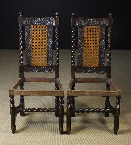 A Rare Pair of Fine Charles II Carved Walnut Chairs,