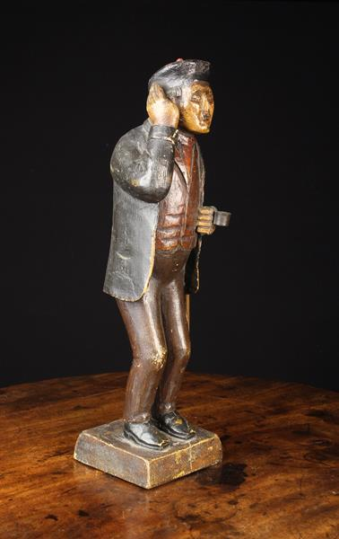 A 19th Century Polychromed Wood Carving of a Man wearing a beret, jacket, waistcoat and trousers, - Image 3 of 4
