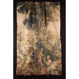 A 17th Century Tapestry Fragment depicting a couple with dog,