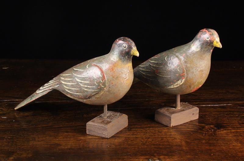 """A Pair of Delightful Late 19th Century Folk Art Painted Wooden Pigeons, 14"""" (36 cm) in length."""