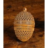 A 19th Century Carved Cocquilla Nut Pomander.