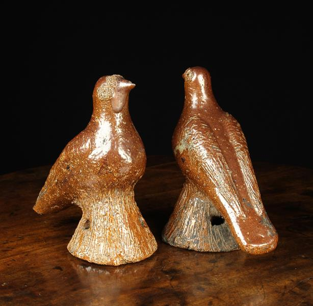 A Pair of 19th Century Yorkshire Salt Glazed Stoneware Pigeons, probably Halifax, - Image 2 of 2