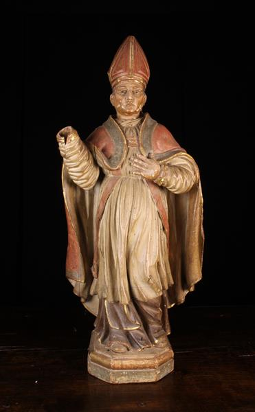"""A 17th Century Polychromed Wood Carving of a Bishop, 36"""" (92 cm) in height. - Image 2 of 2"""