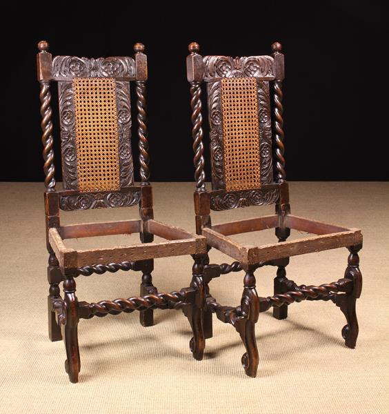 A Rare Pair of Fine Charles II Carved Walnut Chairs, - Image 3 of 4