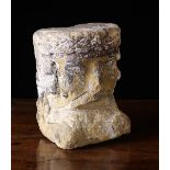 """A 14th/15th Century Carved Stone Fragment Head of a King, 9"""" (23 cm) high, 7"""" (18 cm) wide,"""