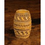A 19th Century Carved Cocquilla Nut Barrel Shaped Container,