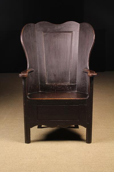 A Fabulous 19th Century Painted Pine and Oak Wing-back Country Armchair attributed to - Image 2 of 3