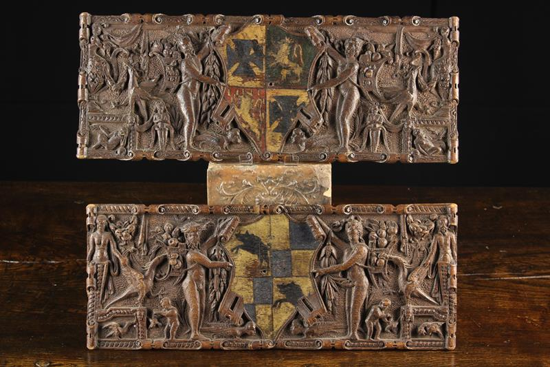 A Fine Pair of Small Late 17th Century Carved Oak Armorial Panels, Circa 1700. - Image 2 of 2