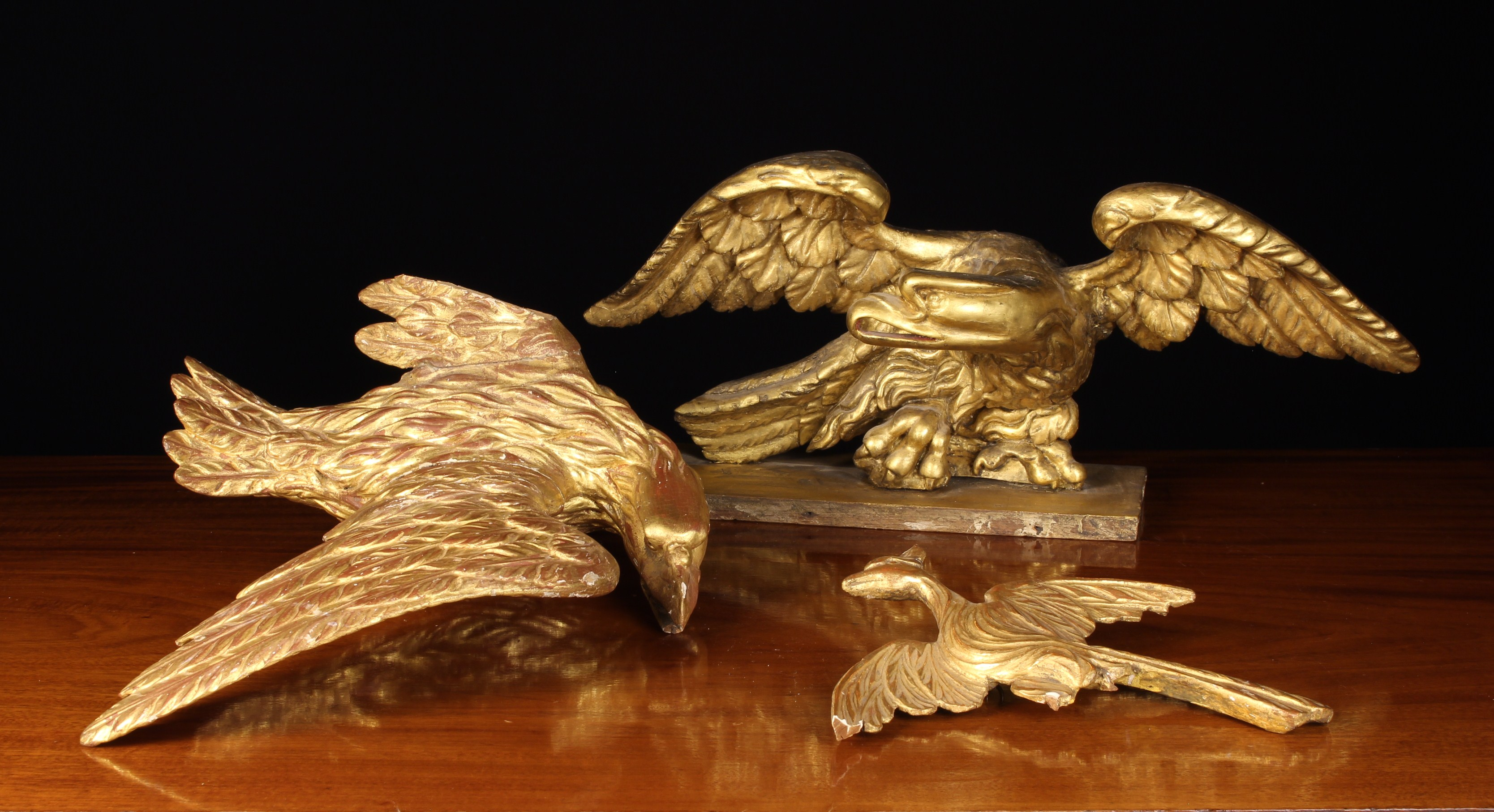 Three Antique Carved Giltwood Birds.