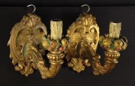 A Pair of Carved & Painted Wooden Wall Sconces.