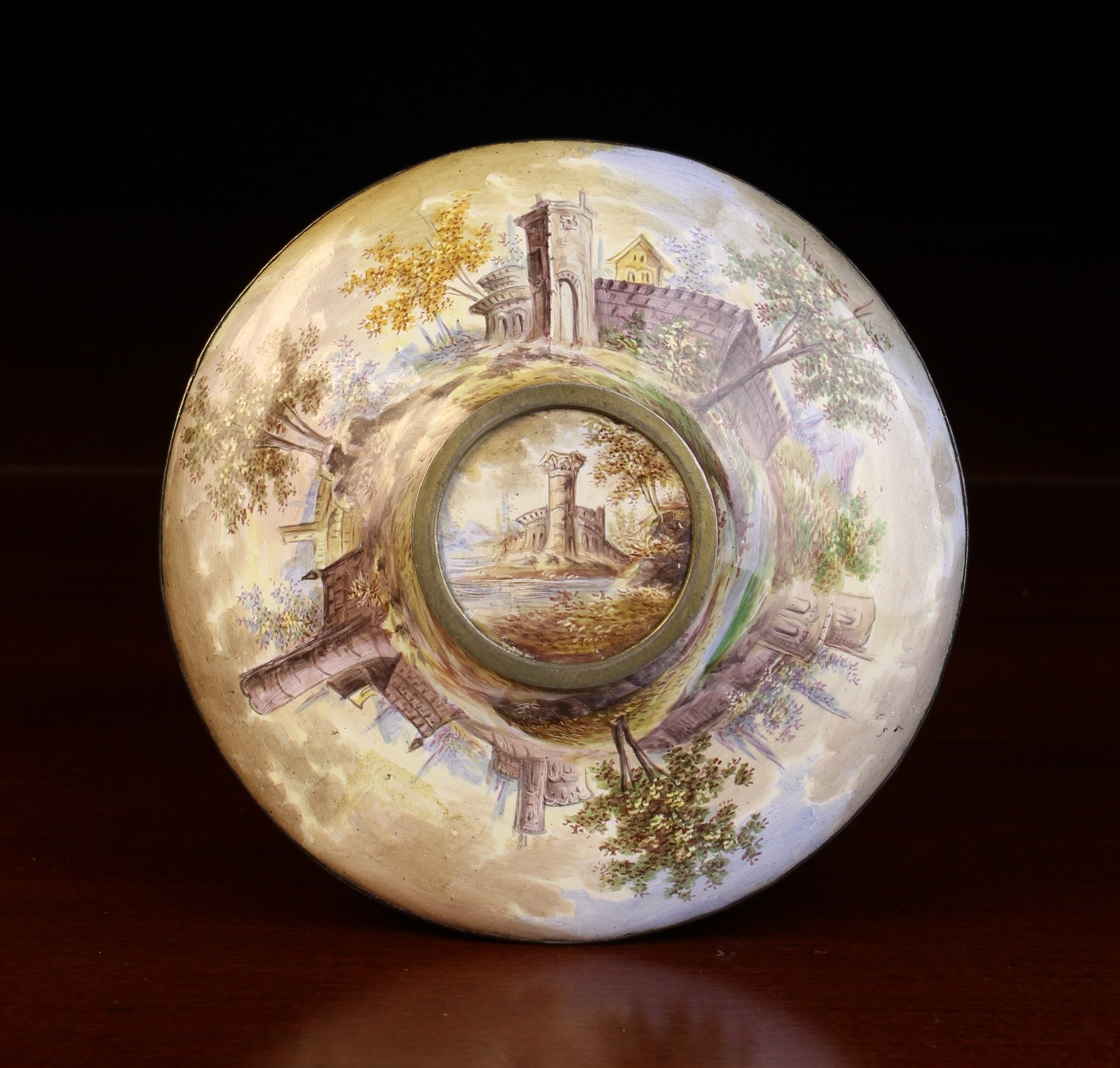 A Fine 19th Century Viennese Enamel Saucer painted in elaborate detail with classical figures - Image 2 of 2