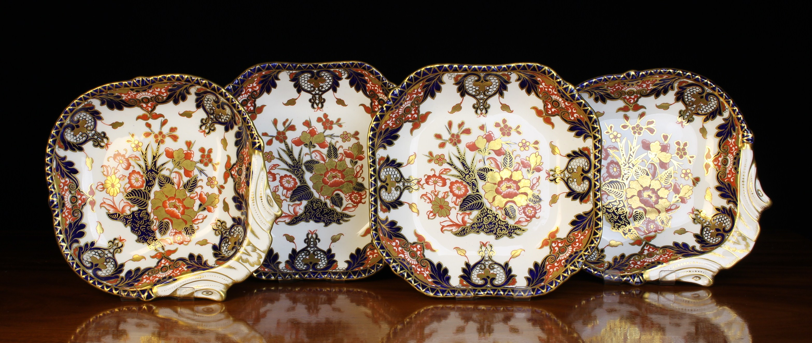 Two Pairs of Royal Crown Derby 'Kings' Pattern Imari Serving Dishes decorated with floral design in