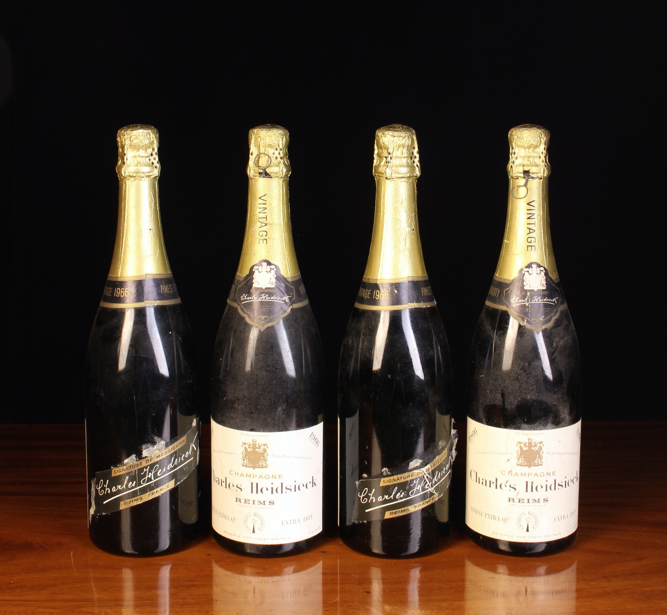 Four Bottles of 1966 Vintage Finest Quality Extra Dry Champagne by Charles Heidsieck,