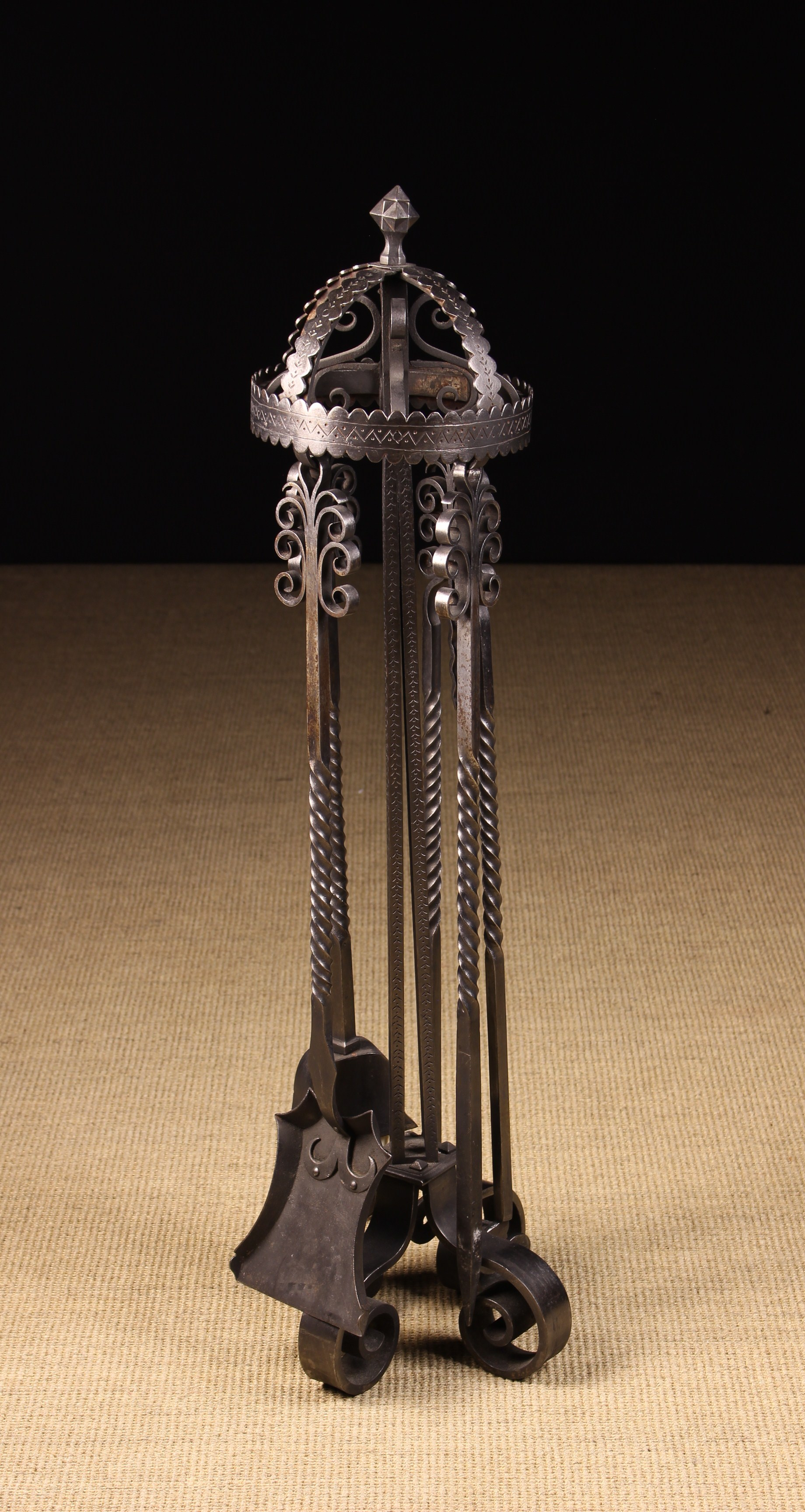 A Handsome Arts & Crafts Style Wrought Iron Fire Companion Set.