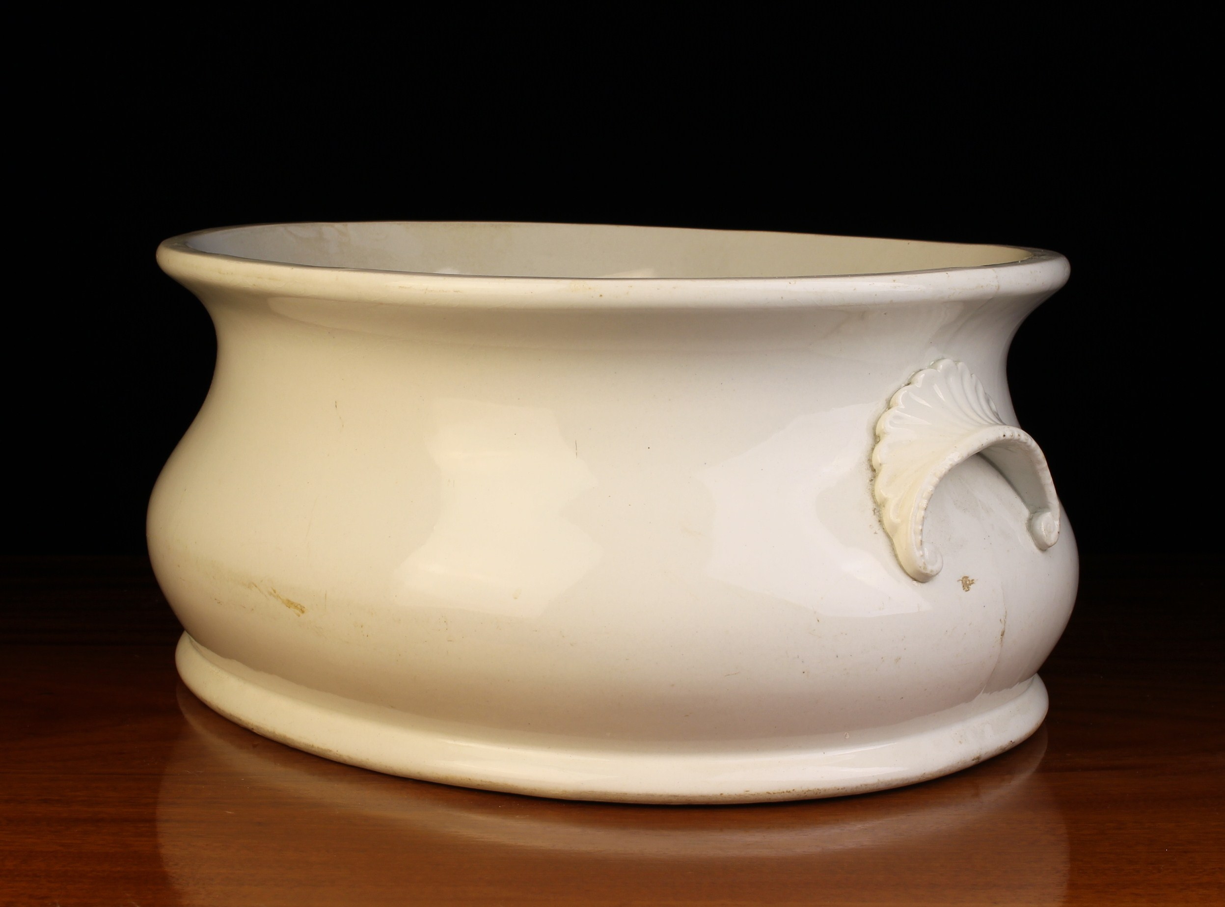 A 19th Century White Glazed Belleek Pottery Foot Bath with decorative moulded lip handles either - Image 2 of 3