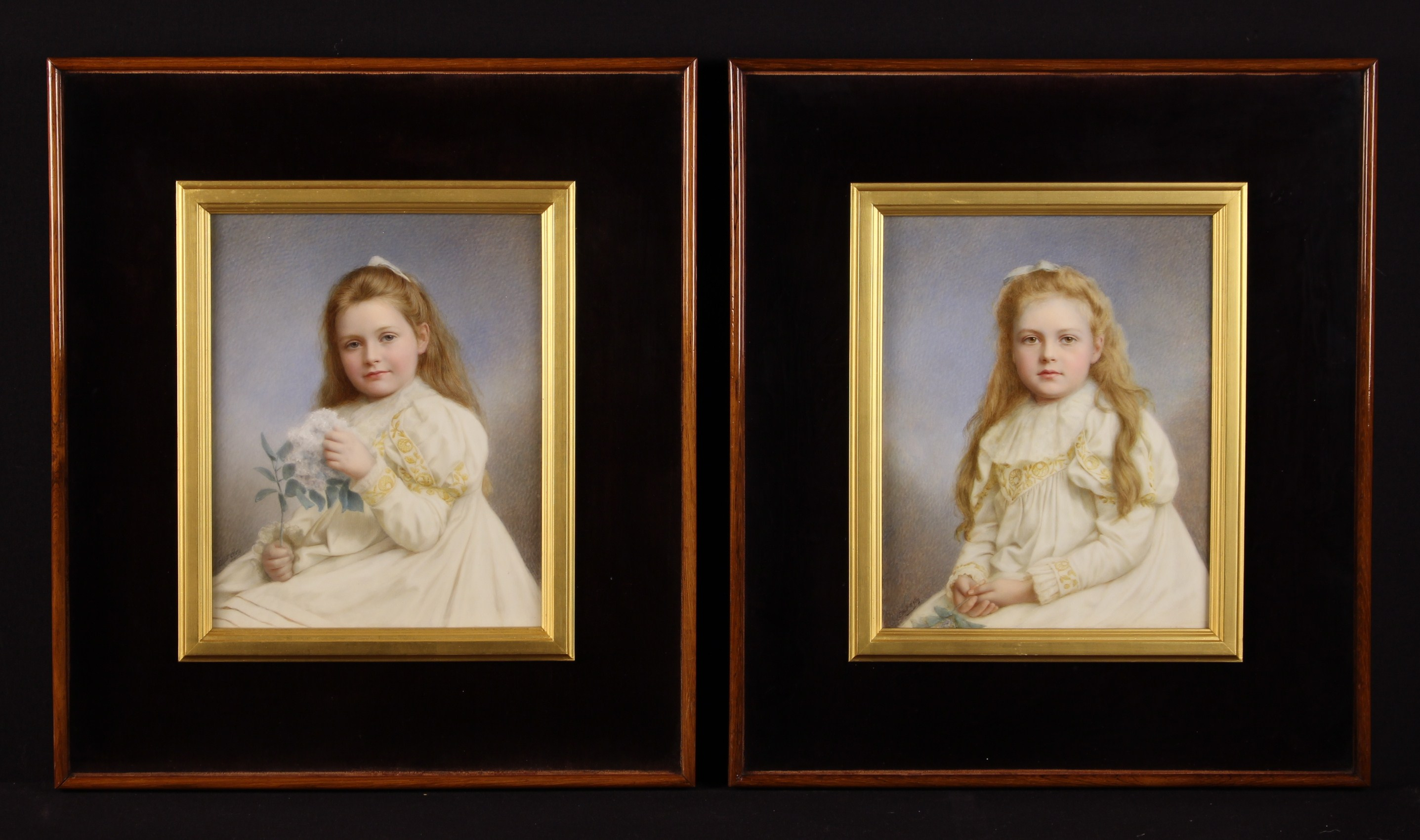 A Pair of Fine Quality Victorian Signed Elliott & Fry hand-tinted Photographic Portraits of Young