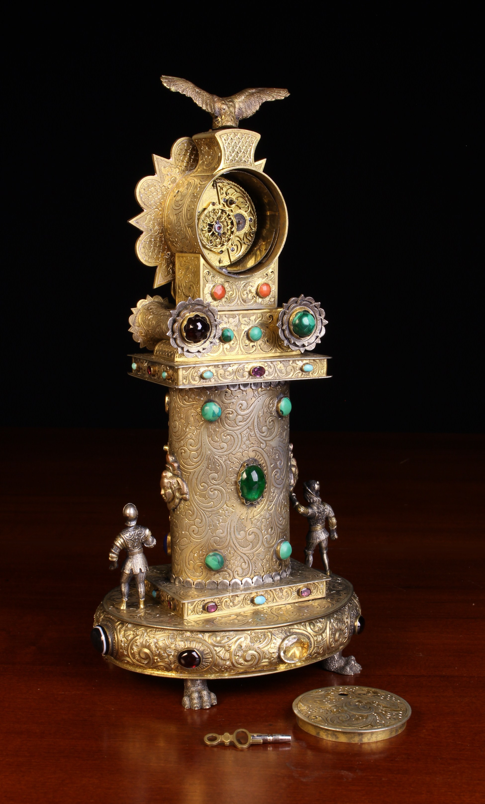 A 19th Century Viennese Silver & Gilt Metal Table Clock encrusted with jewels. - Image 4 of 4