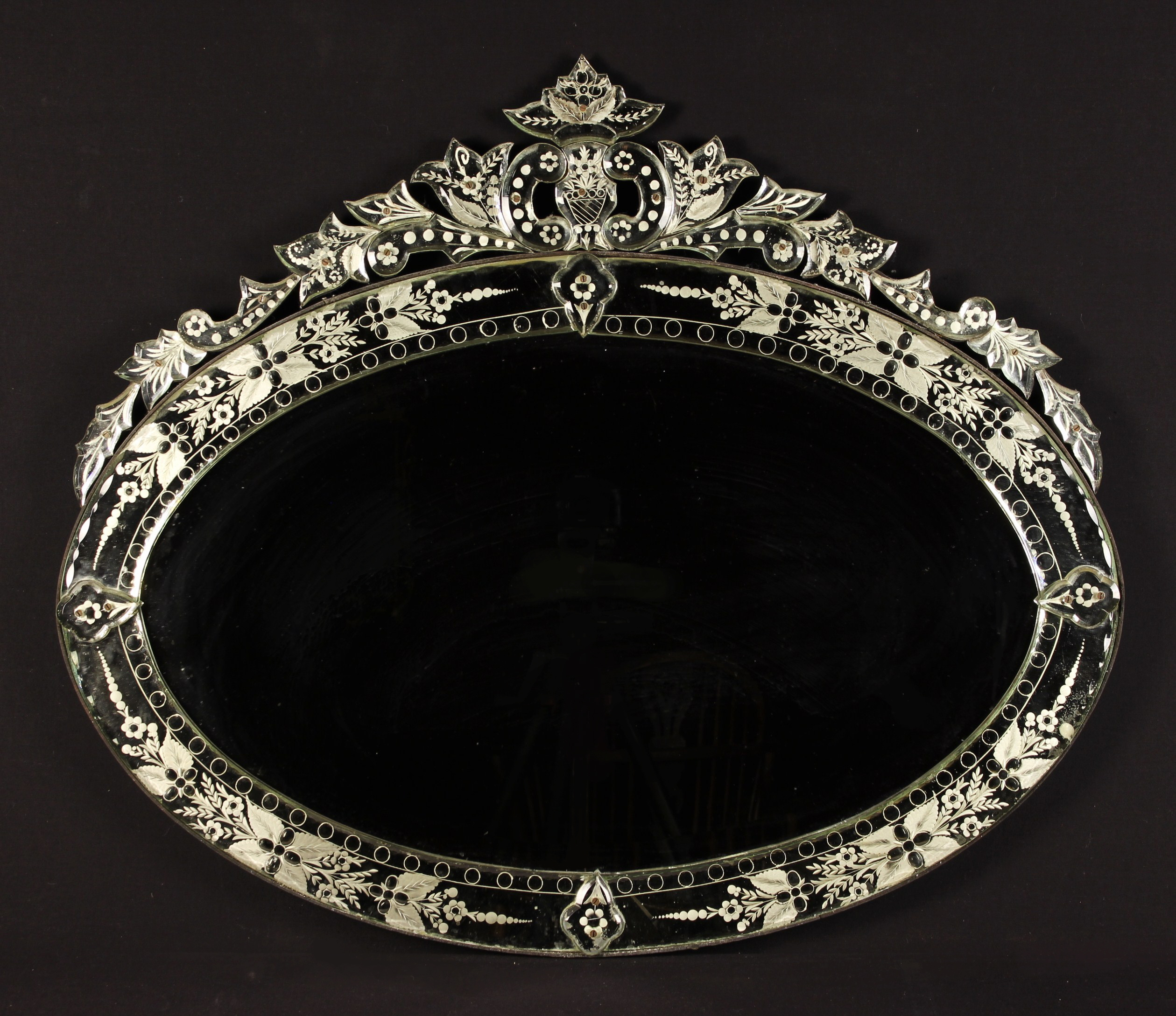 A Vintage Oval Venetian Etched Glass Wall Mirror.