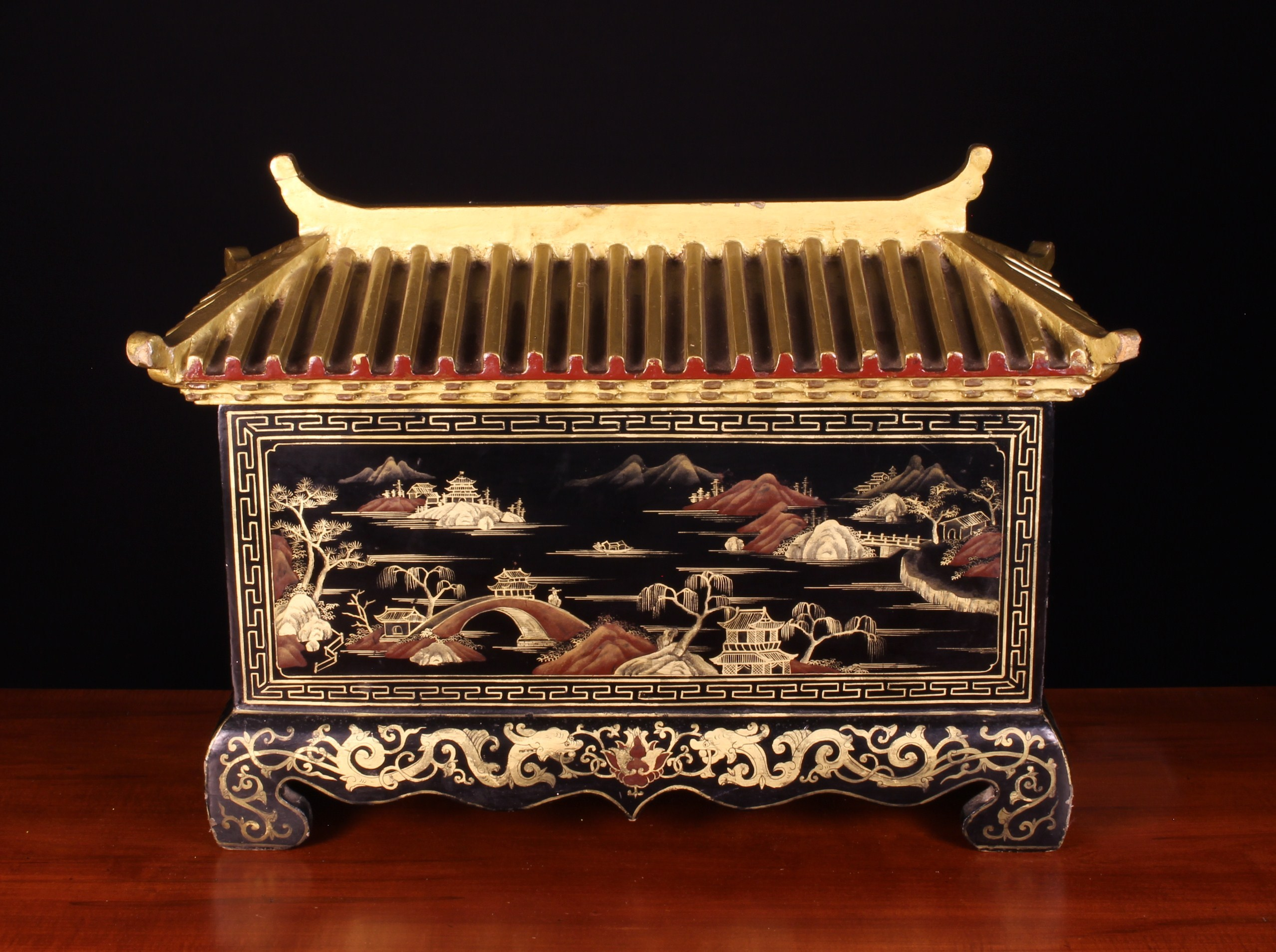 An Unusual 19th Century Lacquered Chinoiserie Coffret/Casket of rectangular form with a moulded