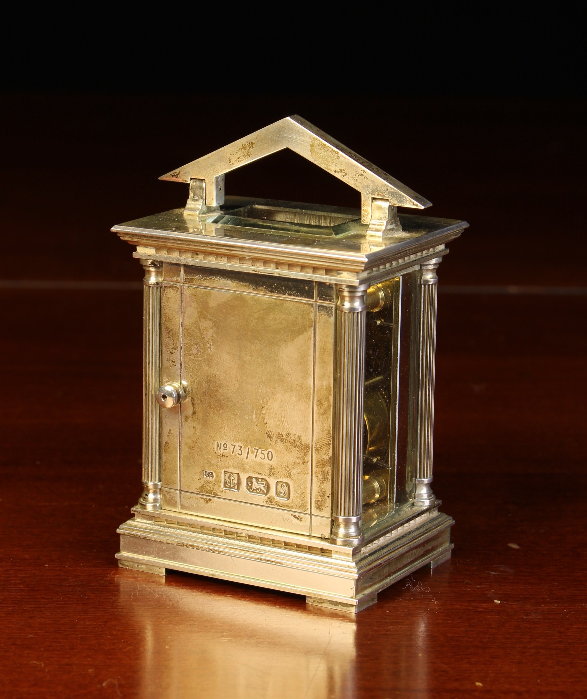 A Miniature Limited Edition Silver Carriage Clock by Chas. - Image 3 of 4