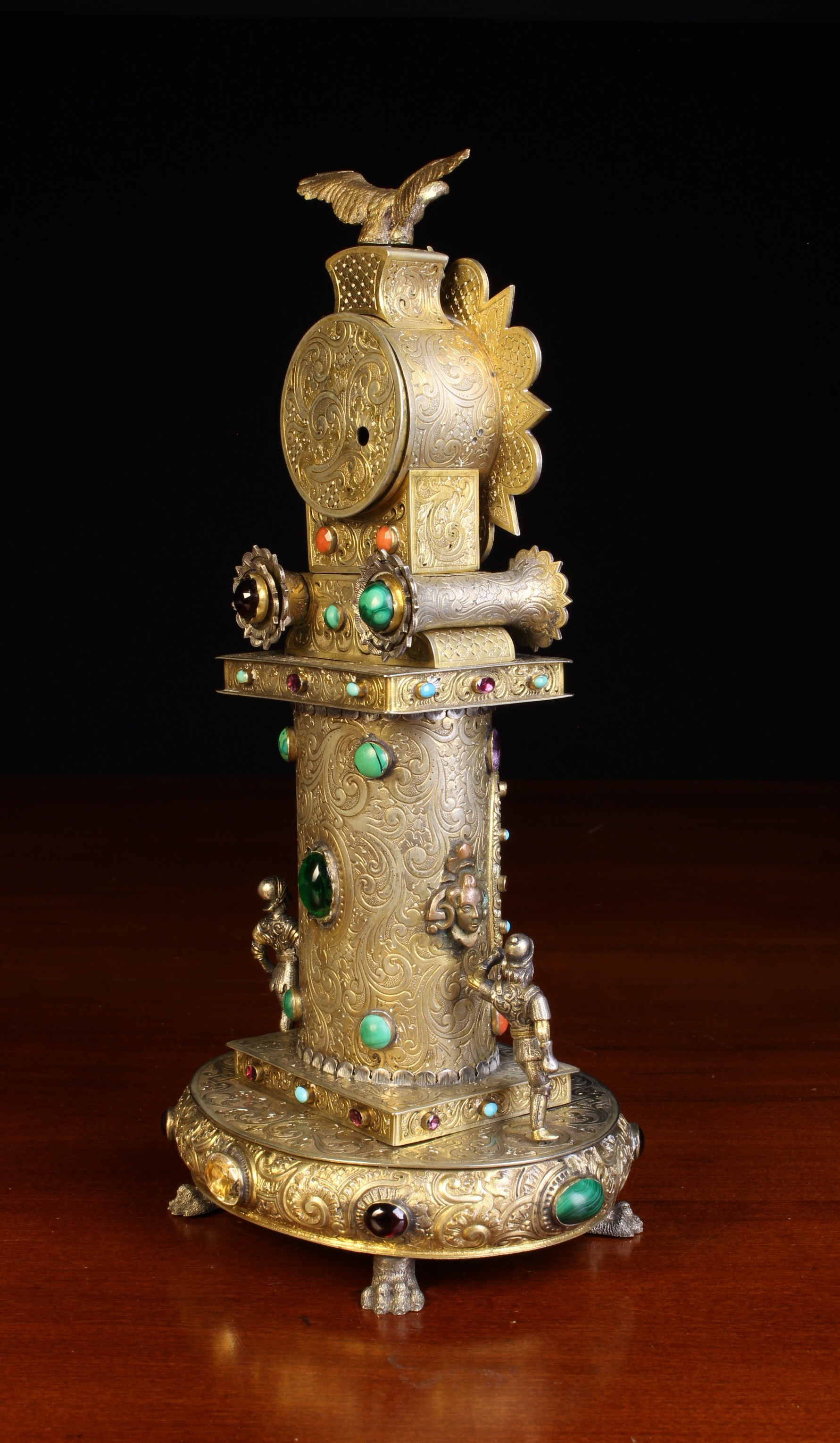 A 19th Century Viennese Silver & Gilt Metal Table Clock encrusted with jewels. - Image 3 of 4