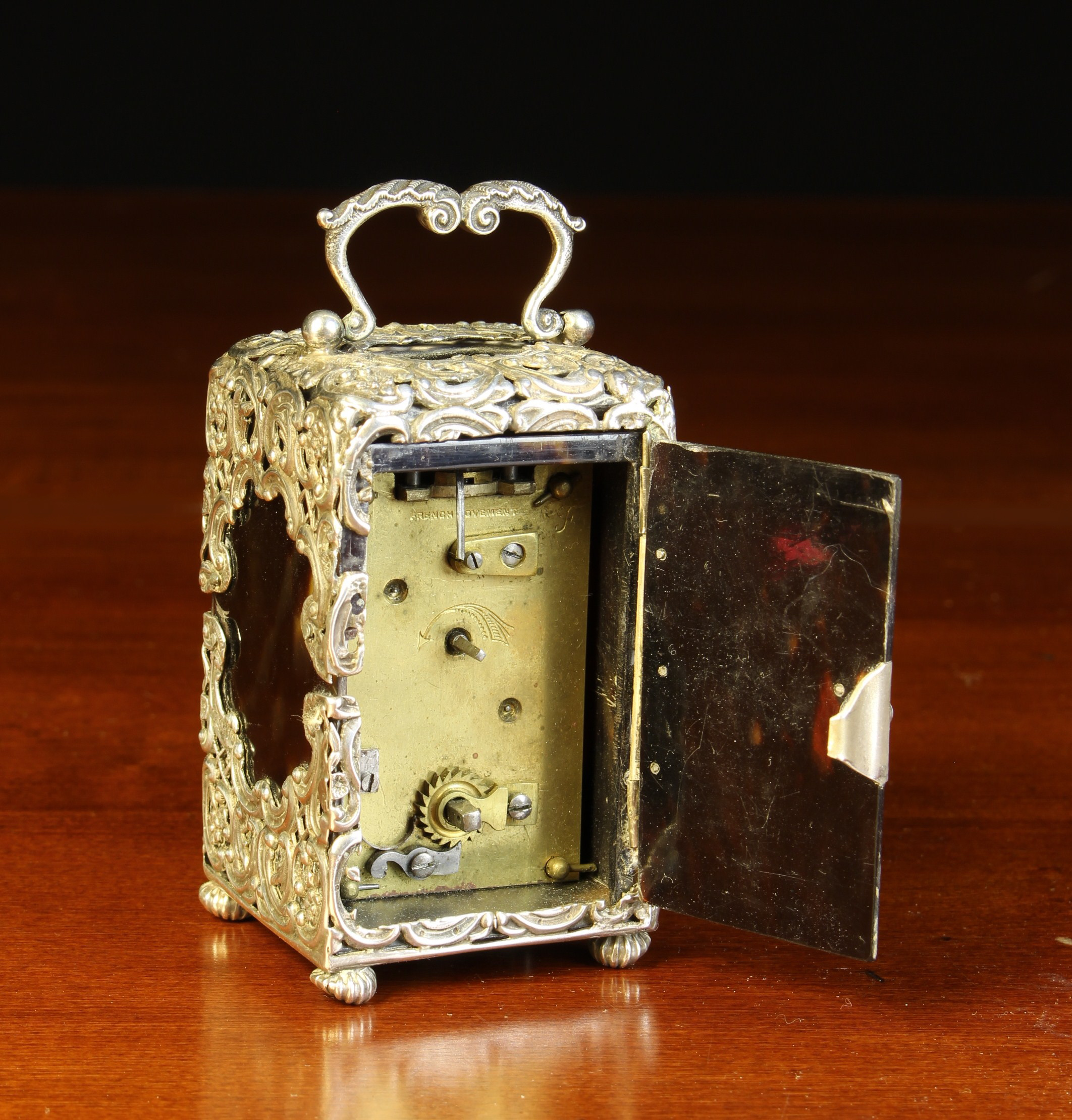 A Small Victorian Silver Mounted Tortoiseshell Carriage Clock with hallmarks for London 1893. - Image 3 of 3