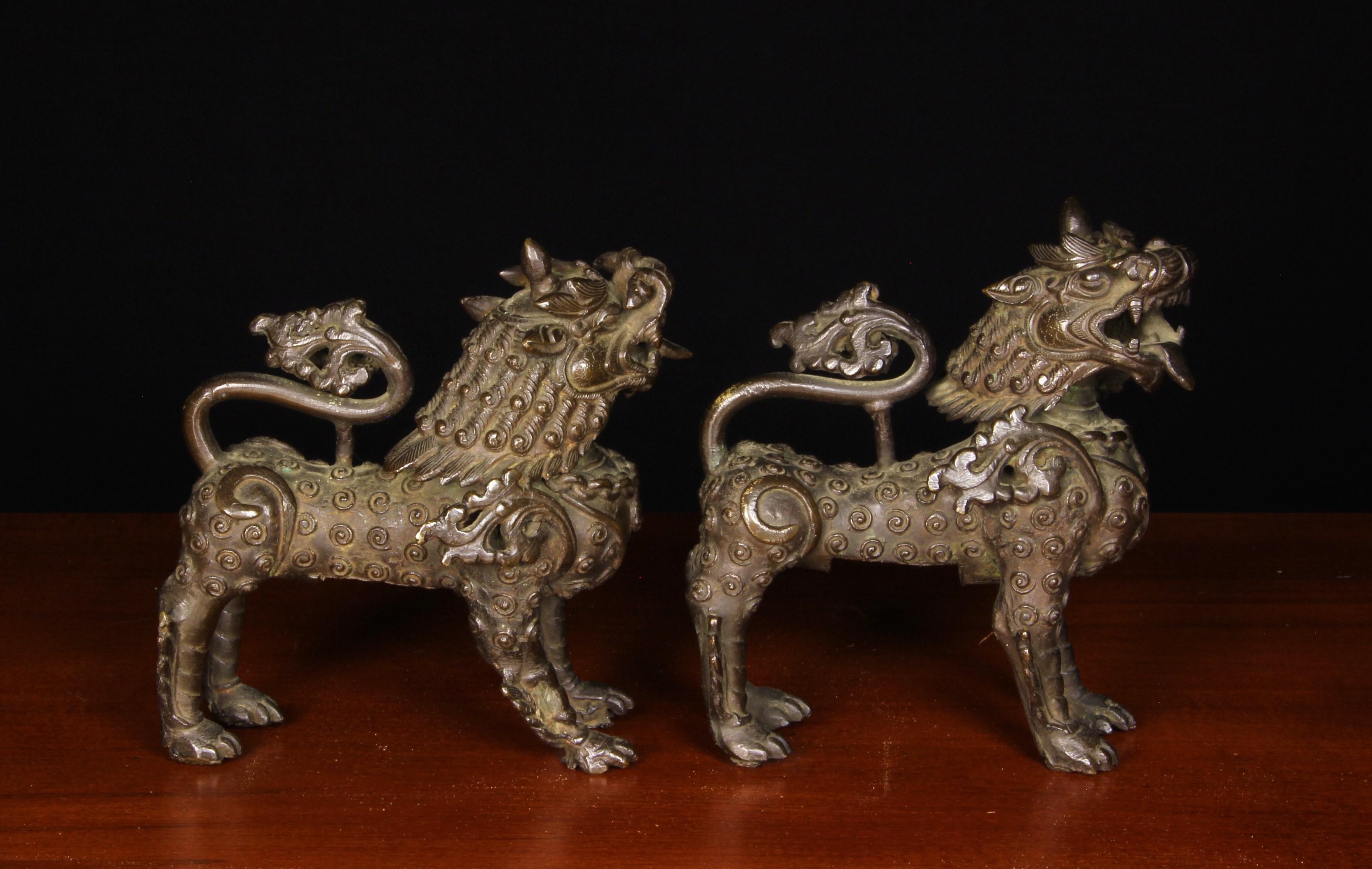 A Pair of Antique Bronze Kylins.