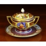 A Vienna Porcelain Ecuelle with Stand & Cover.