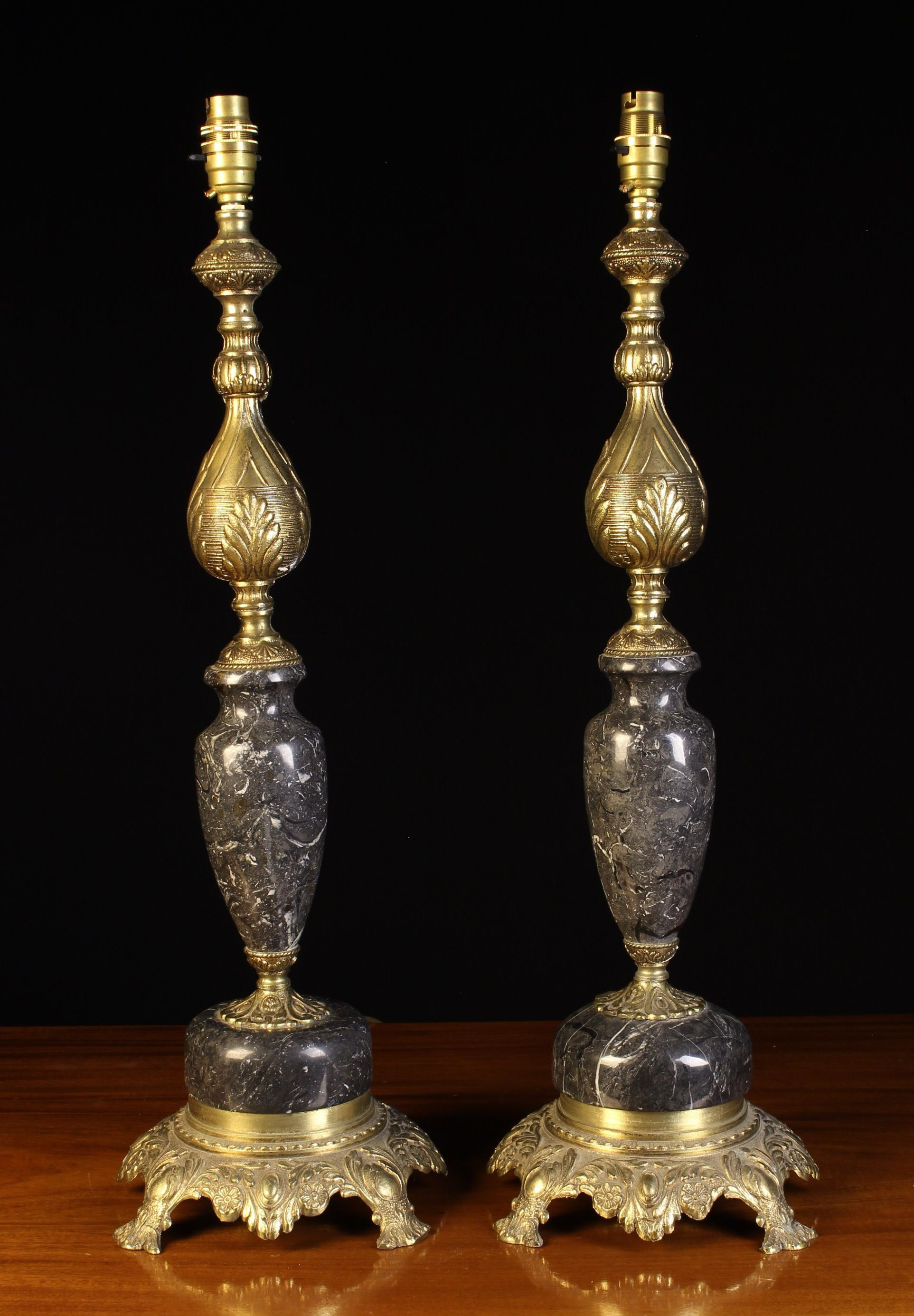 A Pair of Ornamental Cast Brass and 'Petit Granit' Marble Side Lamps with ornately cast stems - Image 2 of 2